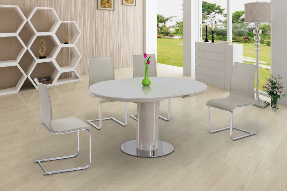 WYNN High Gloss Back Dining Chairs ONLY - Cream
